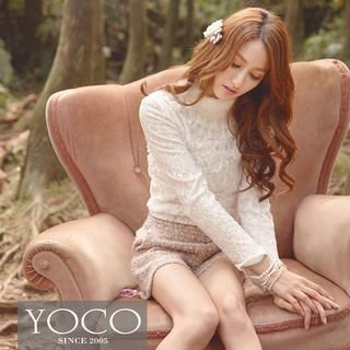 Tokyo Fashion - Faux-Fur Collar Lace Blouse