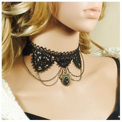 Amina - Layered Dangle Lace Choker