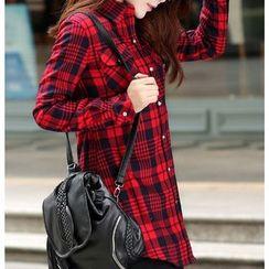 Carreau - Fleece Lined Plaid Long Shirt