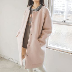 JUSTONE - Round-Neck Snap-Button Neoprene Coat
