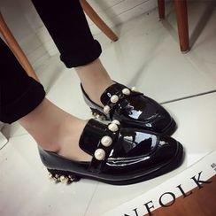 Charming Kicks - 粗跟仿皮乐福鞋