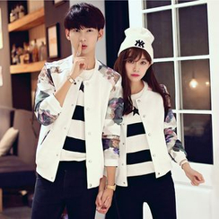 We Belong - Couple Matching Floral / Leopard Panel Baseball Jacket