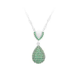 BELEC - 925 Sterling Silver Water Drops Pendant with Green Cubic Zircon and Necklace