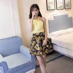 Maine - Set: Sleeveless Cutout Top + Printed A-Line Skirt