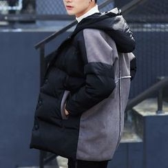 Bay Go Mall - Color Panel Hooded Padded Jacket
