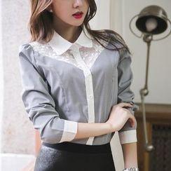 DAZZ - Lace Panel Plaid Shirt