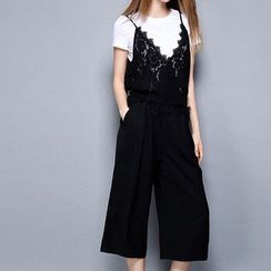 Merald - Set: Plain Short-Sleeve T-Shirt + Lace Camisole Top + Wide Leg Cropped Pants
