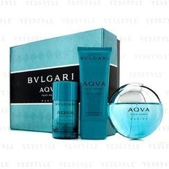 Bvlgari - Aqva Pour Homme Marine Coffret: Eau De Toilette Spray 100ml/3.4oz + Deodorant Stick 75g/2.7oz + After Shave Emulsion 100ml/3.4oz