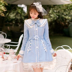 Candy Rain - Peter Pan Collar Lace Trim Coatdress
