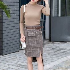 Queen Bee - Plaid Asymmetric Pencil Skirt