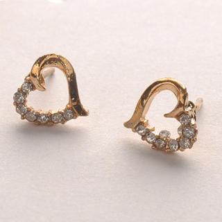 Fit-to-Kill - Diamond Heart-Shaped Earrings - Gold