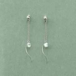 Love Generation - Rhinestone Sterling Silver Drop Earrings