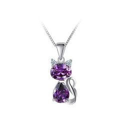 BELEC - 925 Sterling Silver Cat Pendant with Purple Cubic Zircon and Necklace