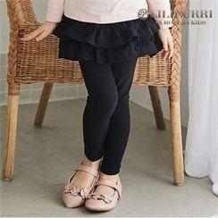 LILIPURRI - Girls Inset Ruffle-Tiered Skirt Leggings