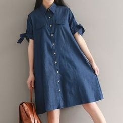 Fashion Street - 短袖牛仔A字襯衫裙