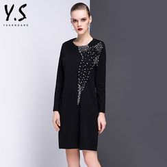 Y:Q - Embellished Long-Sleeve T-Shirt Dress