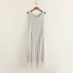 Mushi - Tulle Panel Tank Dress