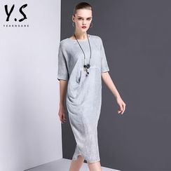 Y:Q - Elbow-Sleeve Slit T-Shirt Dress