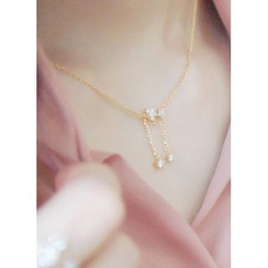 kitsch island - Rhinestone Drop Necklace