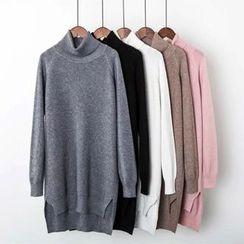 Ainvyi - Turtleneck Dip Back Knit Dress