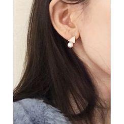 UPTOWNHOLIC - Faux-Pearl Triangle Earrings
