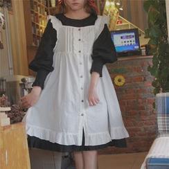 AMELA - Frill Trim Pinafore Dress