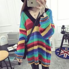 Qimi - V-Neck Striped Long Sweater