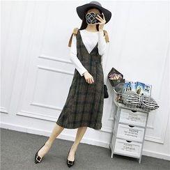 Be Bonita - Set: Ribbed Top + Suspender Plaid Dress