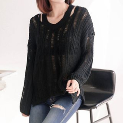 Seoul Fashion - Cutout-Back Distressed Knit Top