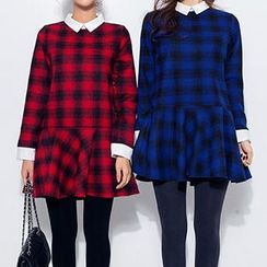 Queen Bee - Collared Long-Sleeve Check Dress