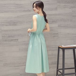AiSun - Set: Plain Sleeveless Midi Dress + Plain Cardigan