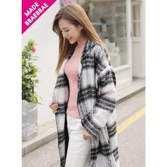 BBAEBBAE - Plaid Wool Blend Long Coat