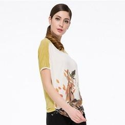 O.SA - Short-Sleeve Printed Panel Top