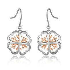MaBelle - 14K/585 Bicolor Gold Diamond Cut Clover Snowflake Dangle Earrings