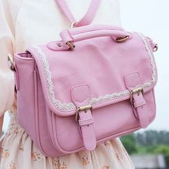 SUPER LOVER - Lace-Trim Buckled Flap Cross Bag