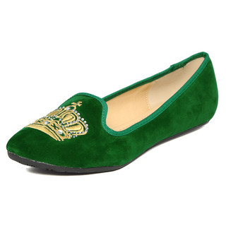 YesStyle Footwear - Embroidered Crown Venetian Flats