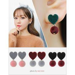 soo n soo - Pompom Heart Dangle Earrings