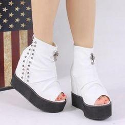 Dola - Studded Shirred-Front Sandal Boots
