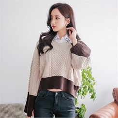 Babi n Pumkin - Two-Tone Cable-Knit Sweater