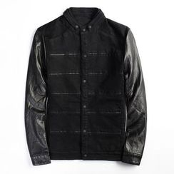 EDAO - Faux Leather Sleeve Denim Jacket