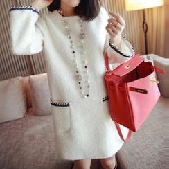 Kasan - 孕婦縫線裝飾長袖羊毛連衣裙