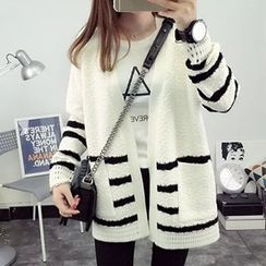 FR - Stripe Open Front Cardigan