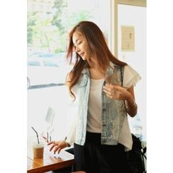 REDOPIN - Lace-Trim Denim Vest