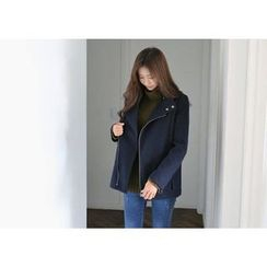 Hello sweety - Button-Neck Zip-Up Jacket