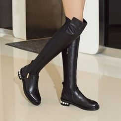 JY Shoes - Faux Pearl Over-the-Knee Boots