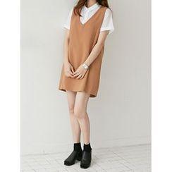 FROMBEGINNING - Sleeveless Mini Shift Dress