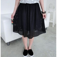 59 Seconds - Perforated A-Line Midi Skirt