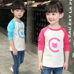 Merry Go Round - Kids Cat Print Raglan Long-Sleeve T-Shirt