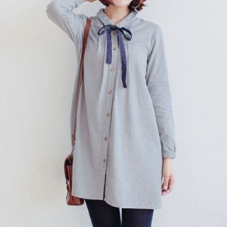 Forest Girl - Tie-Neck Mini Shirtdress