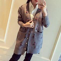 Asally - Lettering Long Knit Jacket